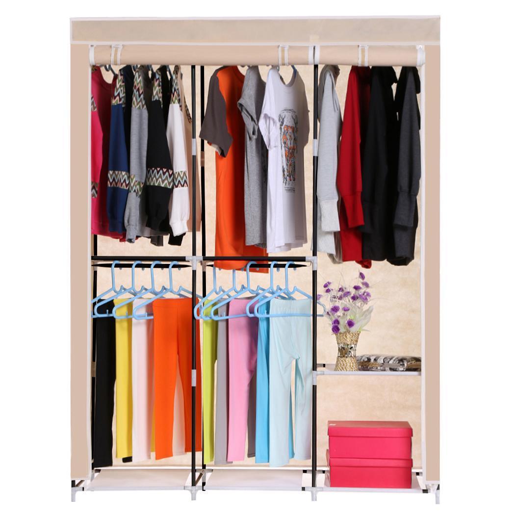 Por wardrobe home clothes rack shelves closet storage - Clothes storage no closet ...