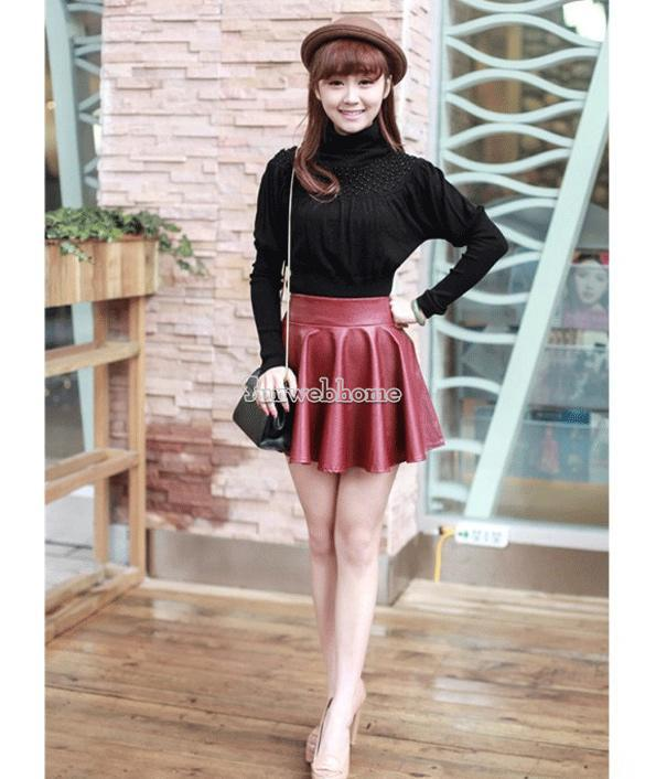Women Black Red Faux Leather Mini Skirt High Waisted