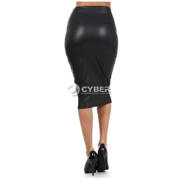 faux leather pencil skirt high waist look
