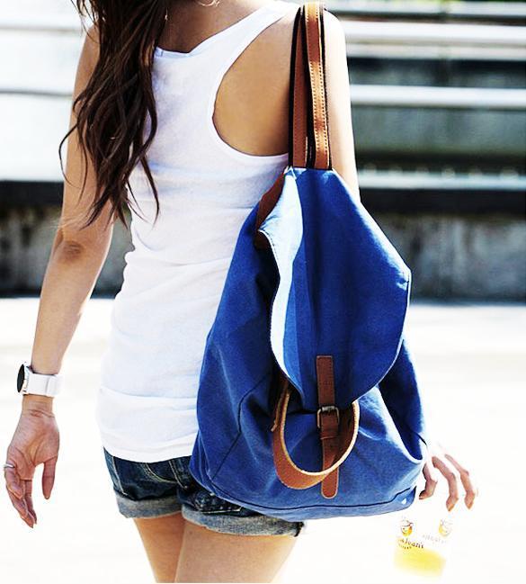 Zaino Elicottero : Zaino borsa da spalla tela colore blu scuola viaggio