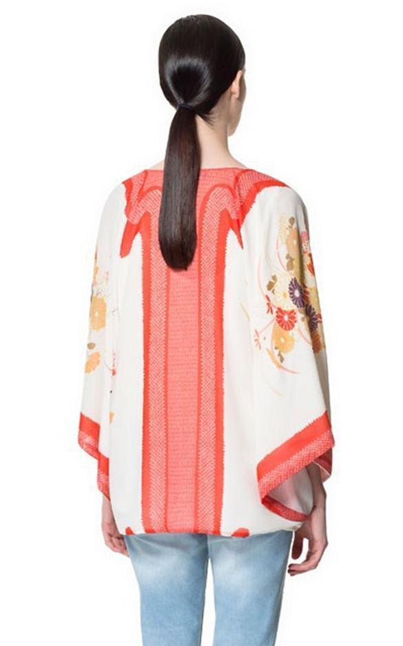 Damen chiffon floral lang shirt kimono cardigan jacke - Kimono jacke damen ...