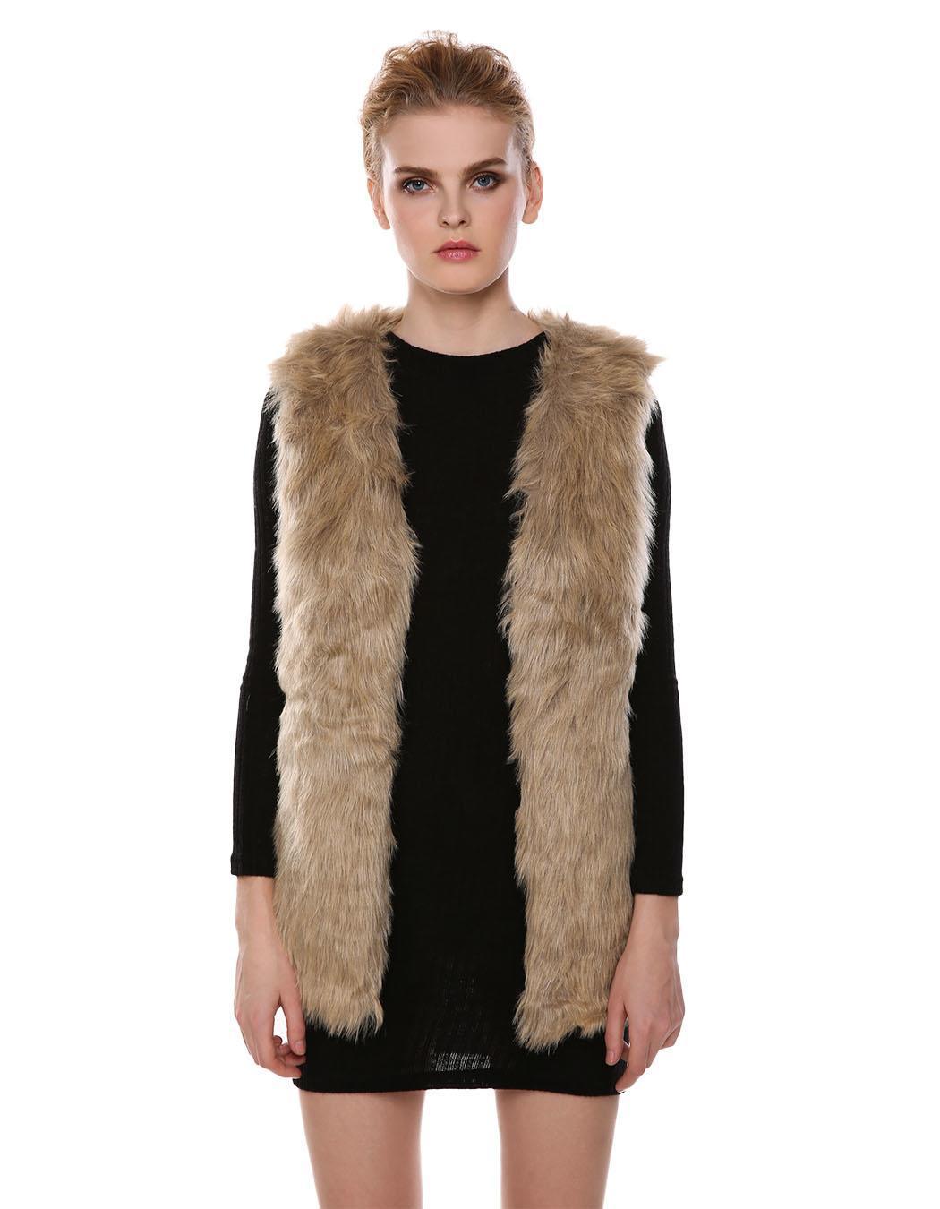 femme fausse fourrure gilet manteau long sans manches. Black Bedroom Furniture Sets. Home Design Ideas