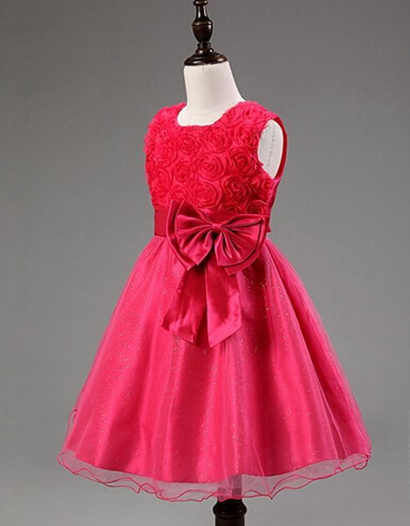 Wedding bridal bridesmaid organza kids 3d rose flower girl dress