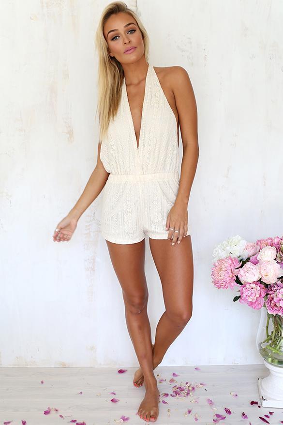 Femmes col en v dos nu dentelle combinaison romper salopette shorts de plage ebay - Combinaison dos nu dentelle ...