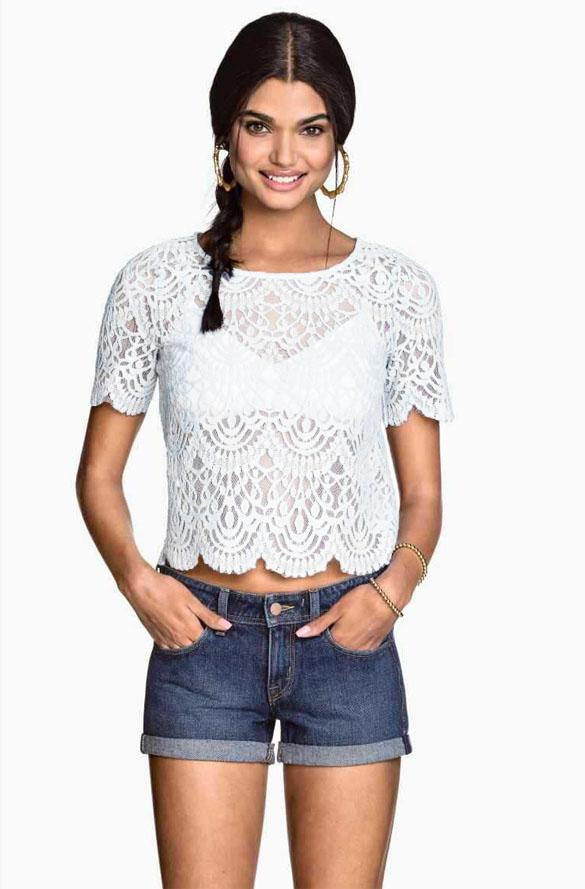 Delicacy Hollow Lace Crochet Waist Slim Top Blouse Shirt 75