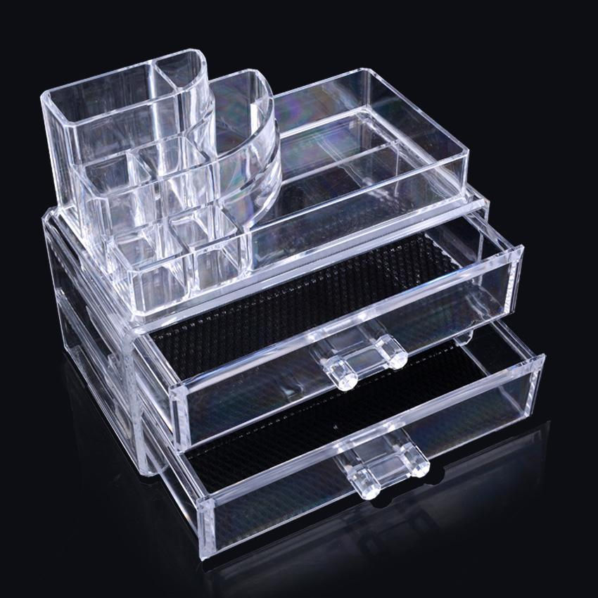 makeup case cosmetic organizer holder drawers jewelry storage box clear acrylic ebay. Black Bedroom Furniture Sets. Home Design Ideas