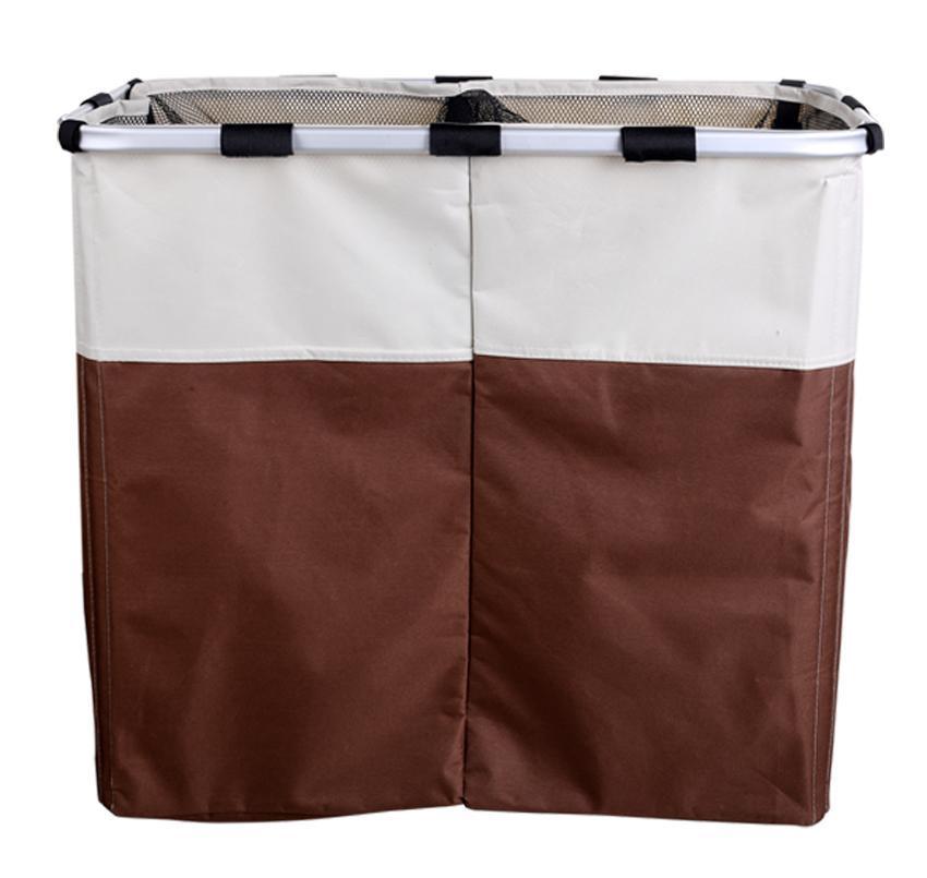 Double laundry hamper washing basket clothes storage bin foldable sorter bag ebay - Laundry basket lights darks colours ...