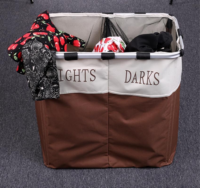 Double washing clothes sorter basket bin storage hamper foldable laundry basket ebay - Laundry basket lights darks colours ...