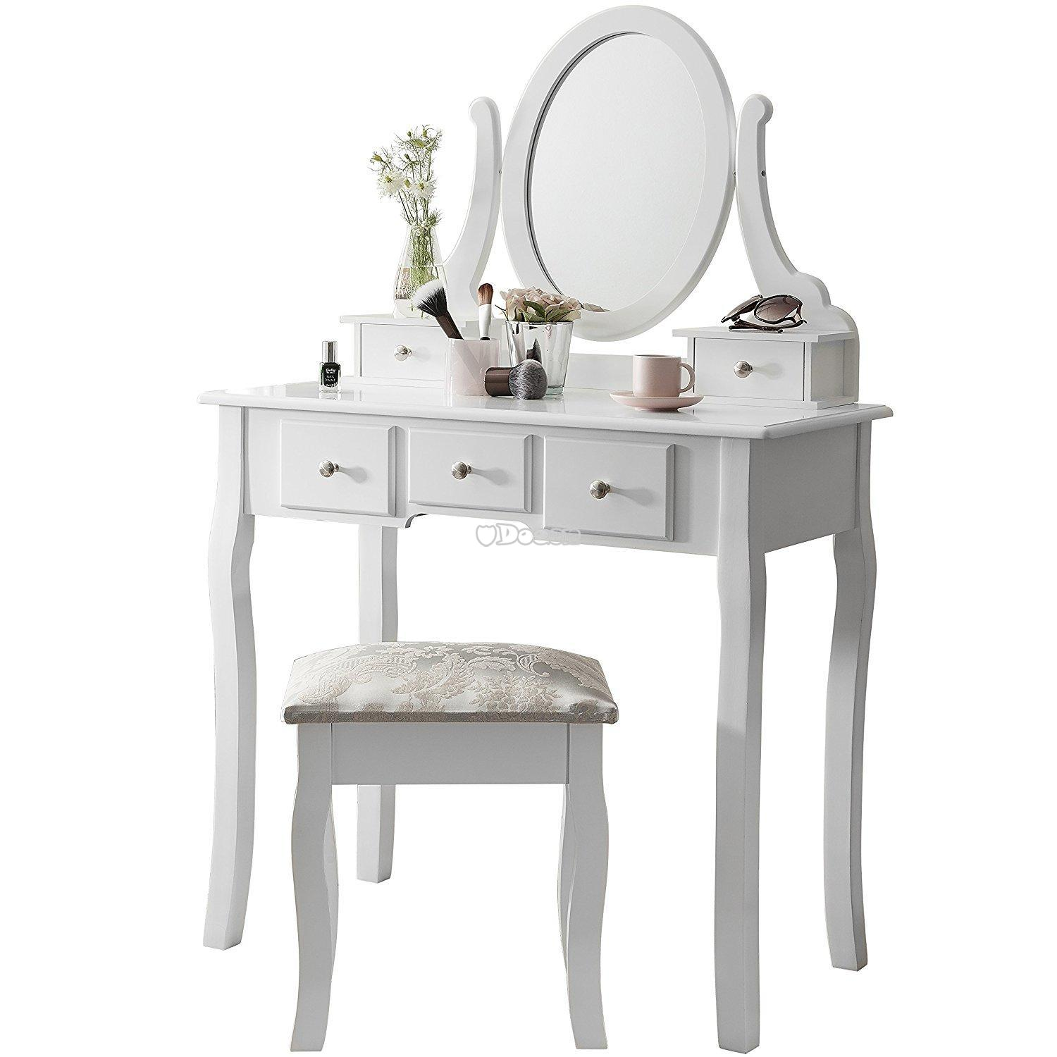 Shabby Chic Dressing Desk Table Mirror Vanity Make Up Stool Dresser W 7 Draw
