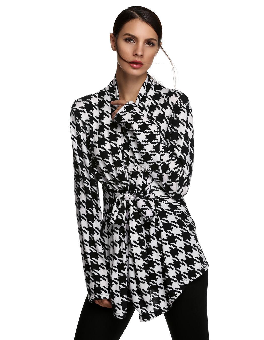 Ladies Women Casual Long Sleeve Grid Pattern Knit Cardigan ...