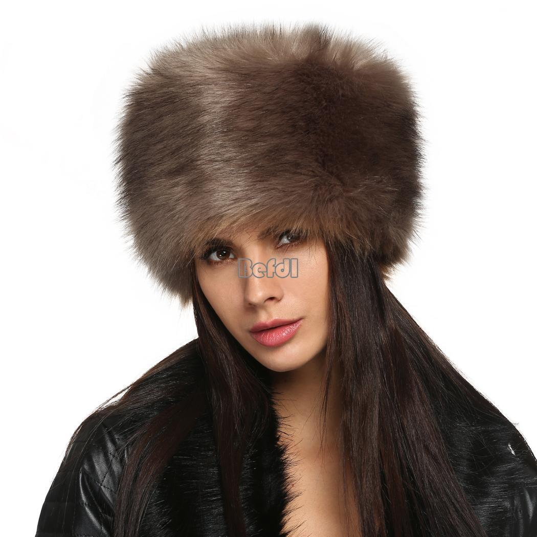 Women Fashion Winter Faux Fur Russian Cossack Style Hat ...