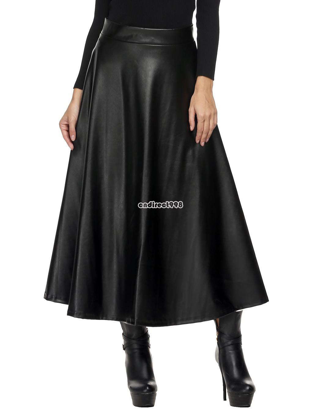 fashion high waist faux leather pleated swing maxi