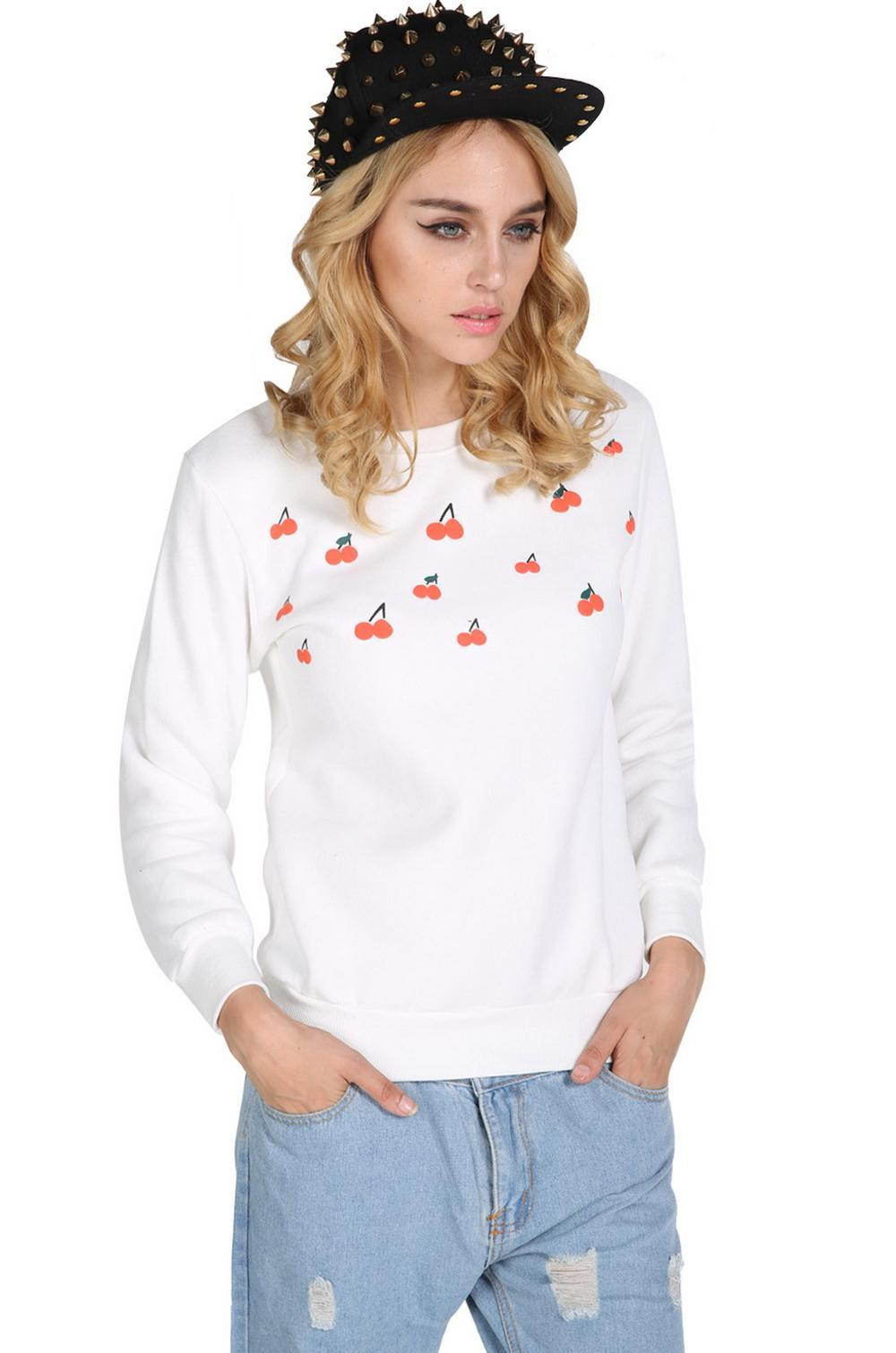 Cyber women long sleeve hoodies lovely cherry cotton t for White cotton long sleeve t shirt