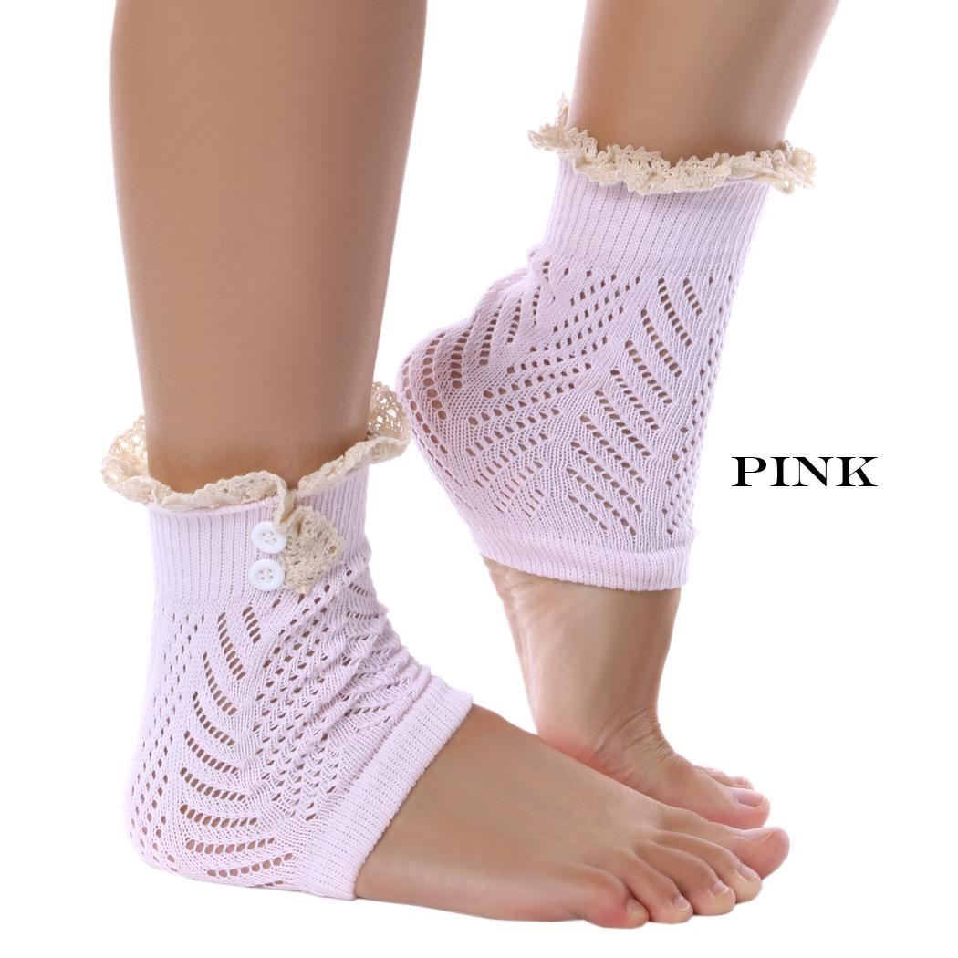 Very Pink Knits Sock Pattern : SuperCart Women Crochet Lace Trim Knit Button Leg Warmers Boot Socks Cuffs (P...