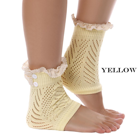 Cyber Women Crochet Lace Trim Knit Button Leg Warmers Boot Socks Cuffs (Green...
