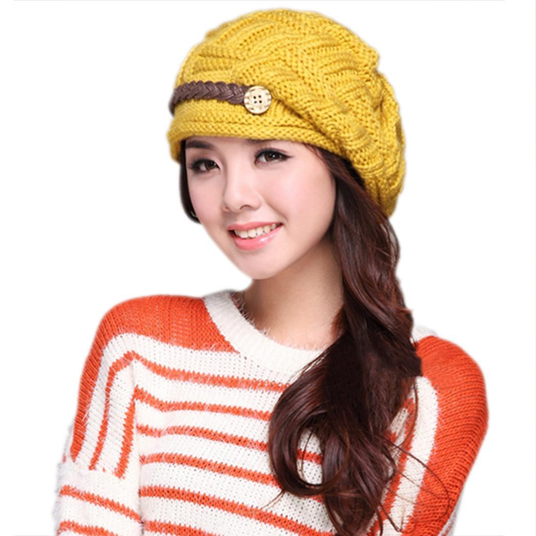 SuperCart Plicate Baggy Beanie Womens Knitted Ski Hat Cap Pink Lazada Malaysia