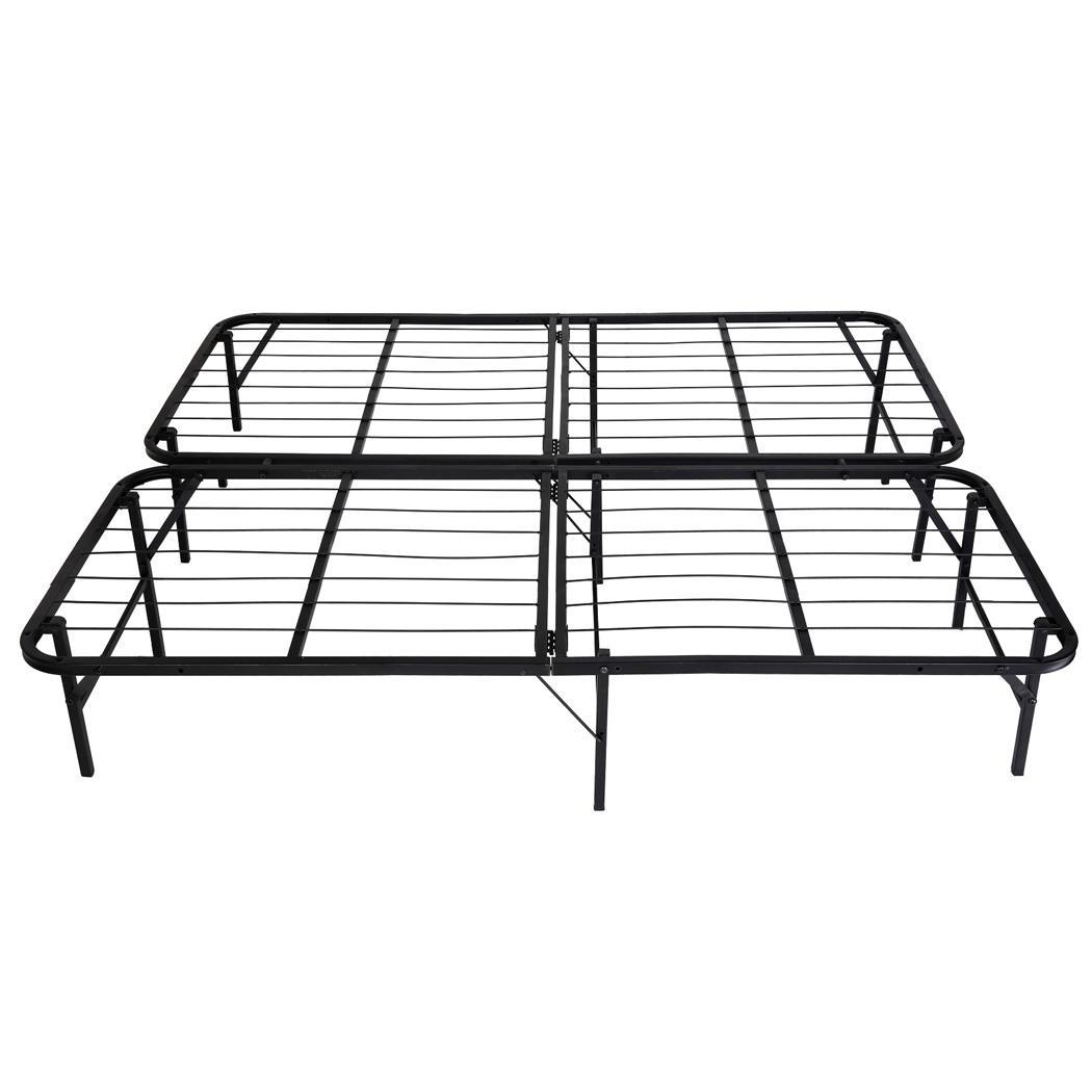 queen size modern black metal platform bed frame with center support mattres ebay. Black Bedroom Furniture Sets. Home Design Ideas
