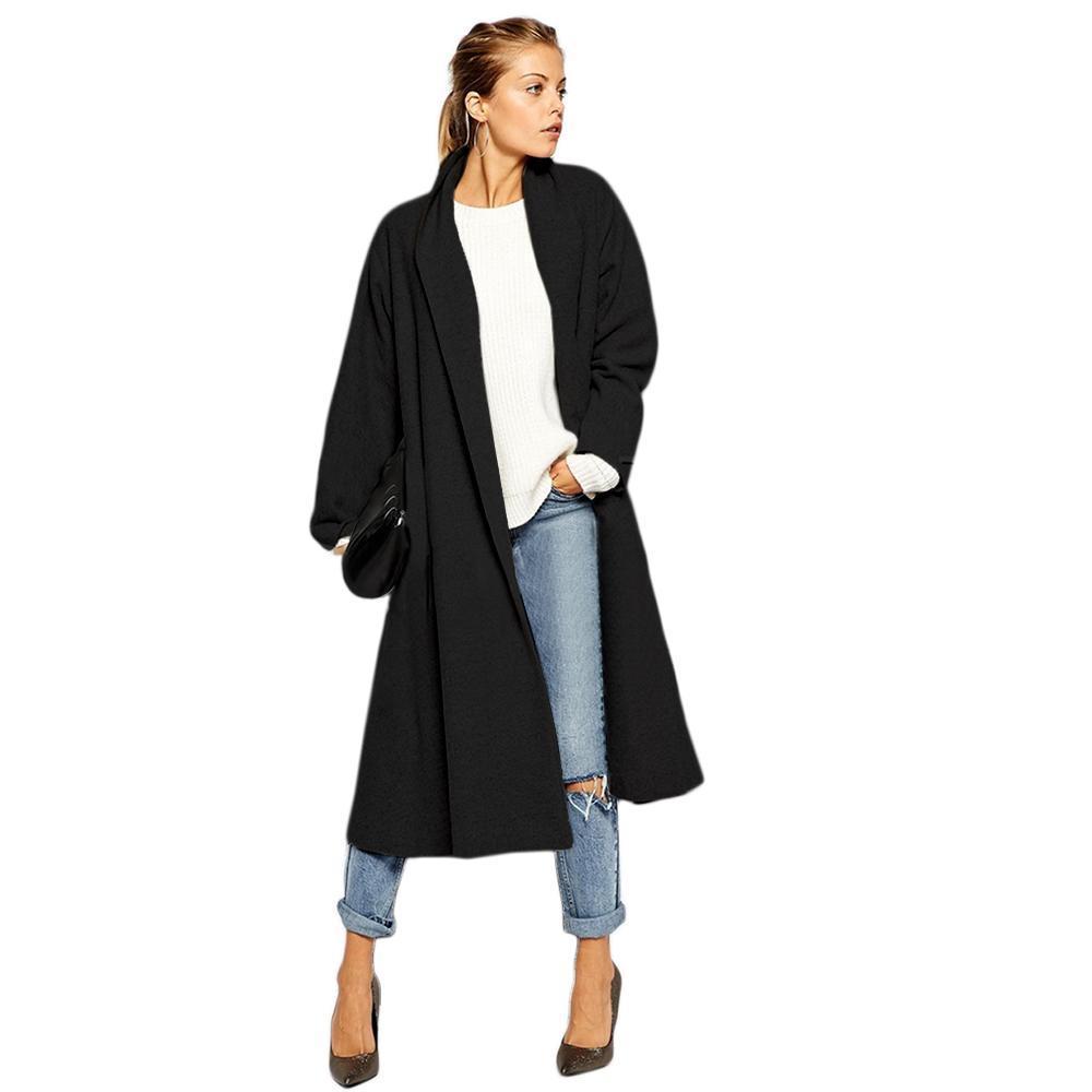 Women Wool Blend Windbreaker Cardigan Calf Length Long ...