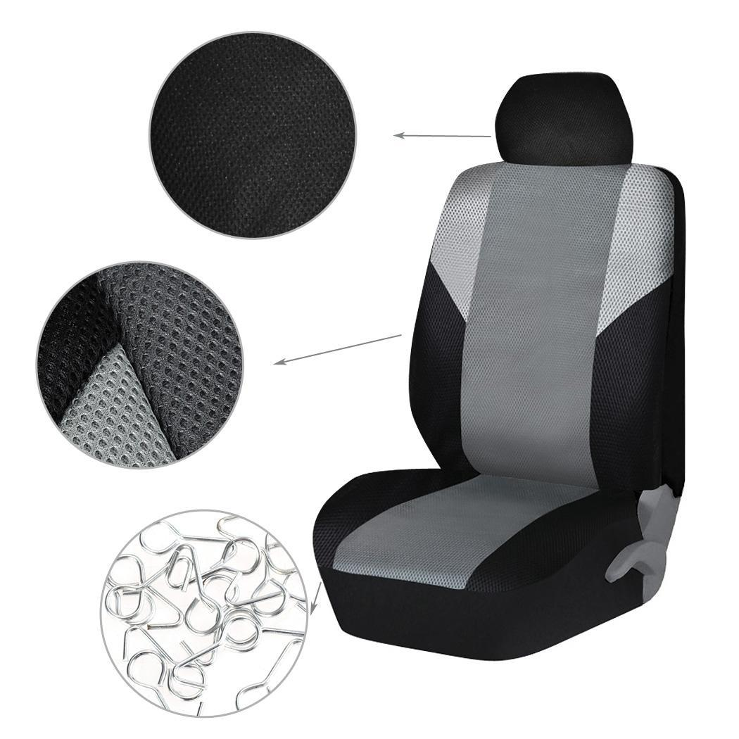 hot black and gray car seat covers mesh cloth fabric grey full set for toyota ebay. Black Bedroom Furniture Sets. Home Design Ideas