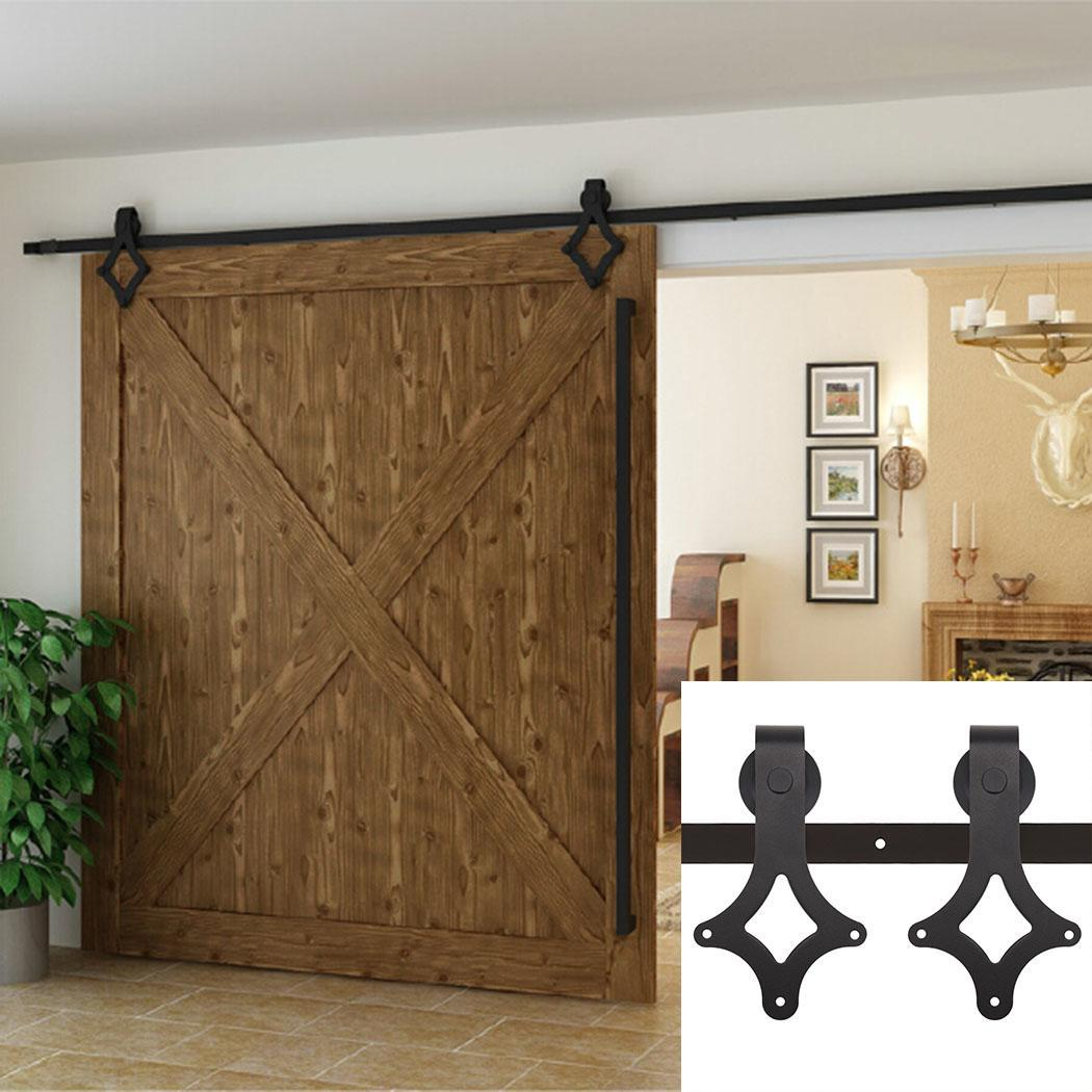 6 ft black antique style sliding barn wood door hardware With cost of barn door hardware