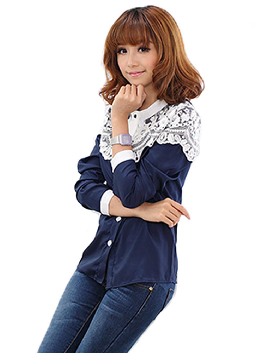 19f37c5c9e Compra Cabo De Moda Europea-estilo Encaje Blusa RRs Camisas De Manga ...