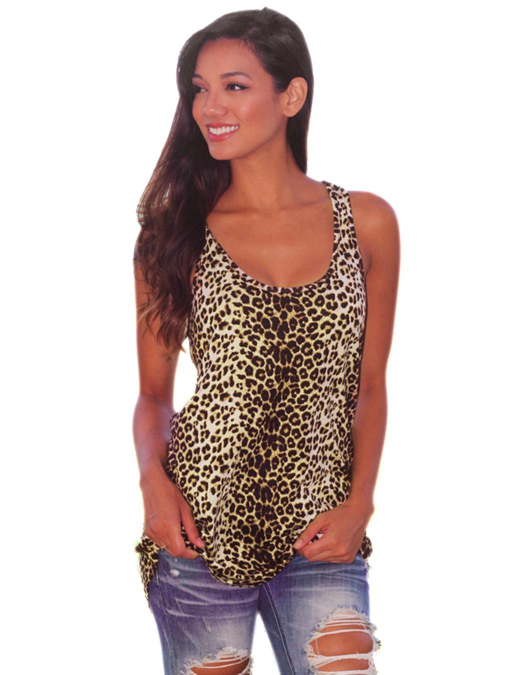 Vintage Women Ladies Vest Top Sleeveless Leopard Blouse ...