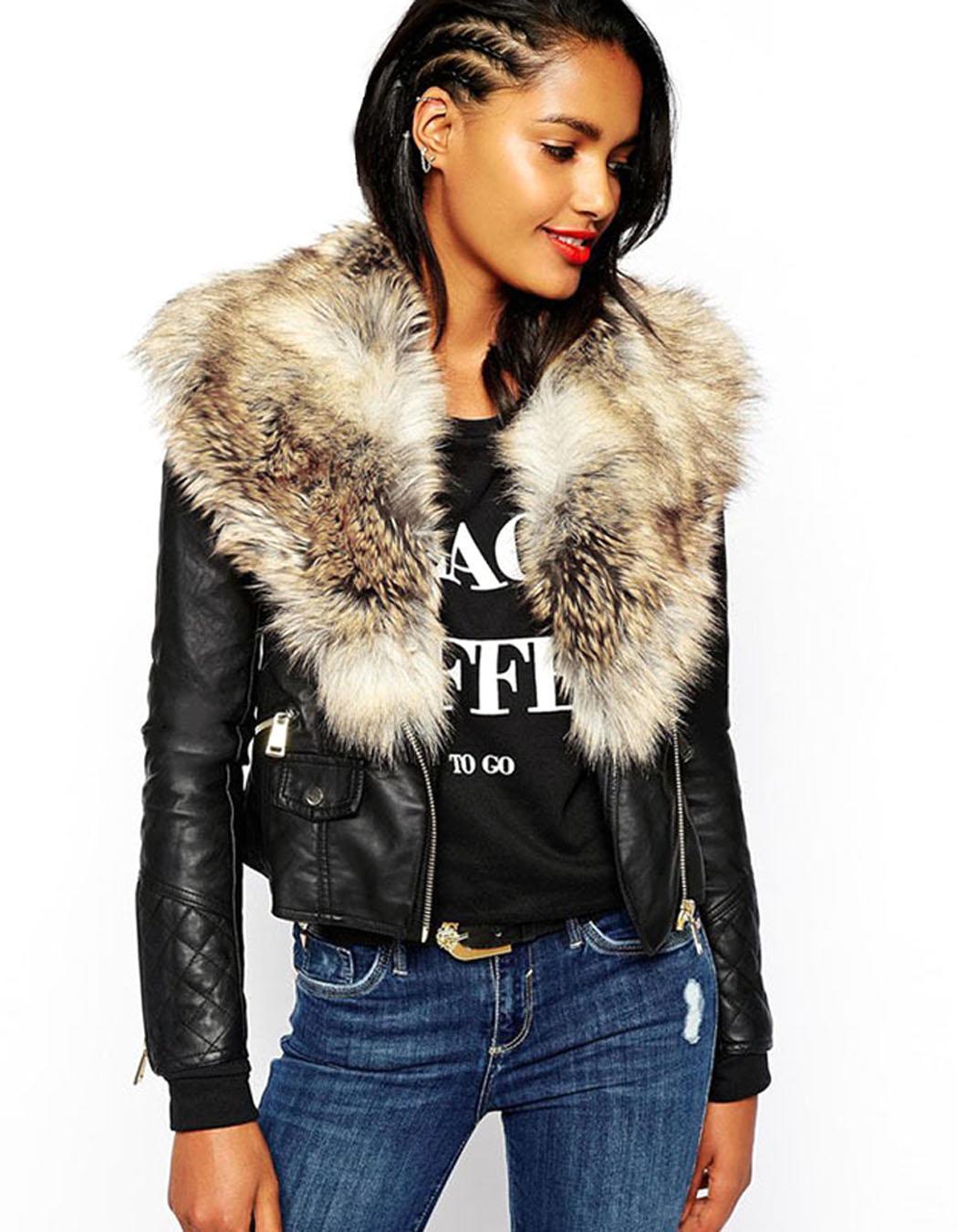 Ladies Faux Fur Pu Leather Look Fur Collar Womens Biker ...