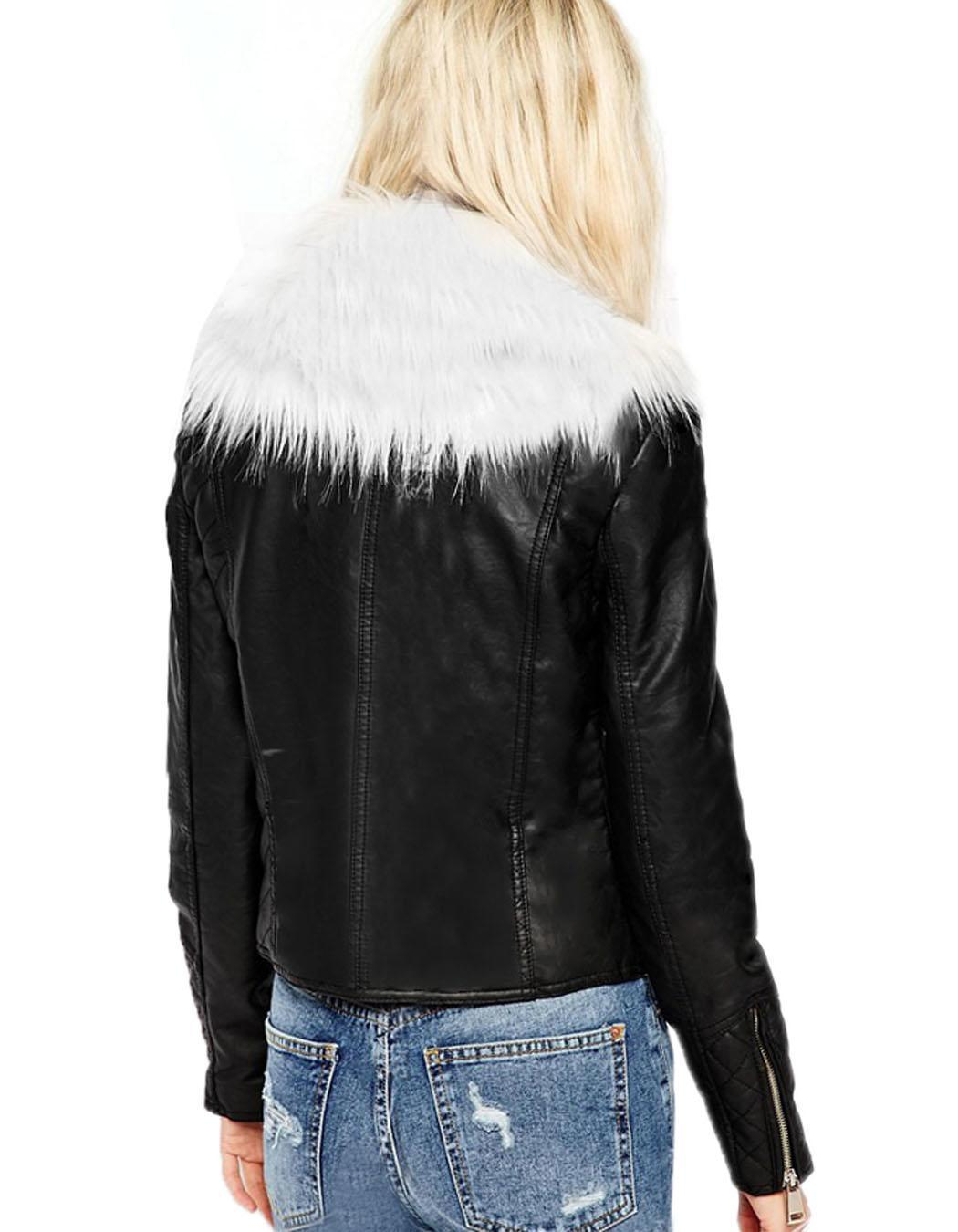 womens leather biker jacket with fur collar
