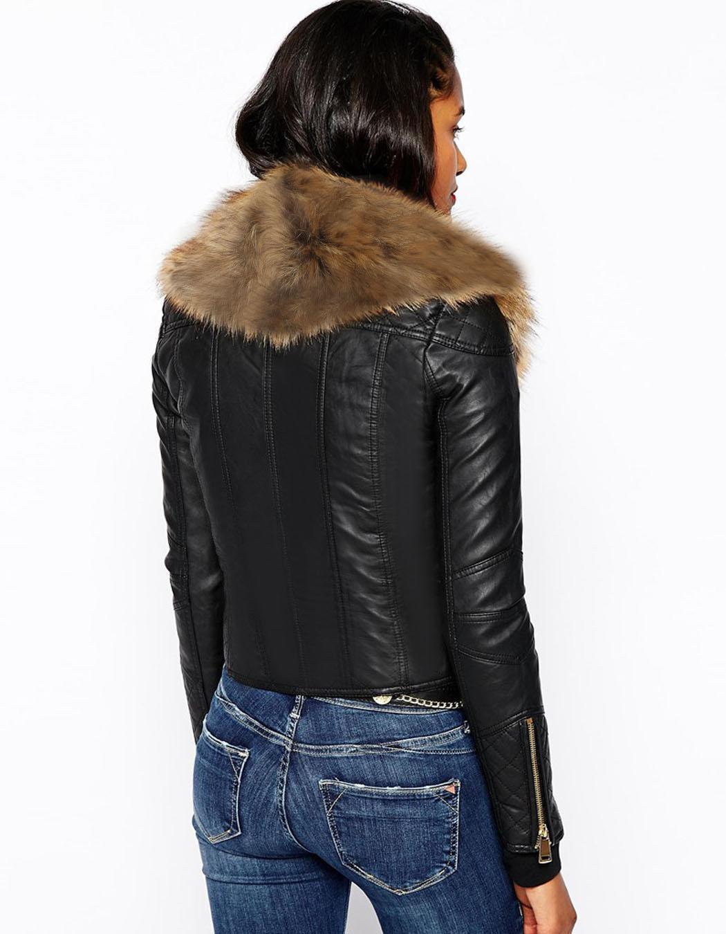 Ladies Faux Fur Pu Leather Look Fur Collar Womens Biker ...