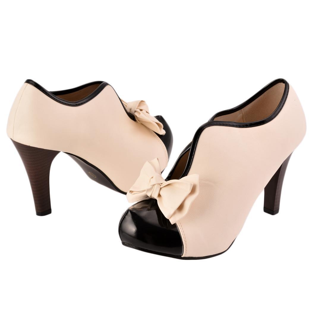 Cyber Sexy Lady Beige Bow Pump Platform Women High Heel Shoes | Lazada Singapore