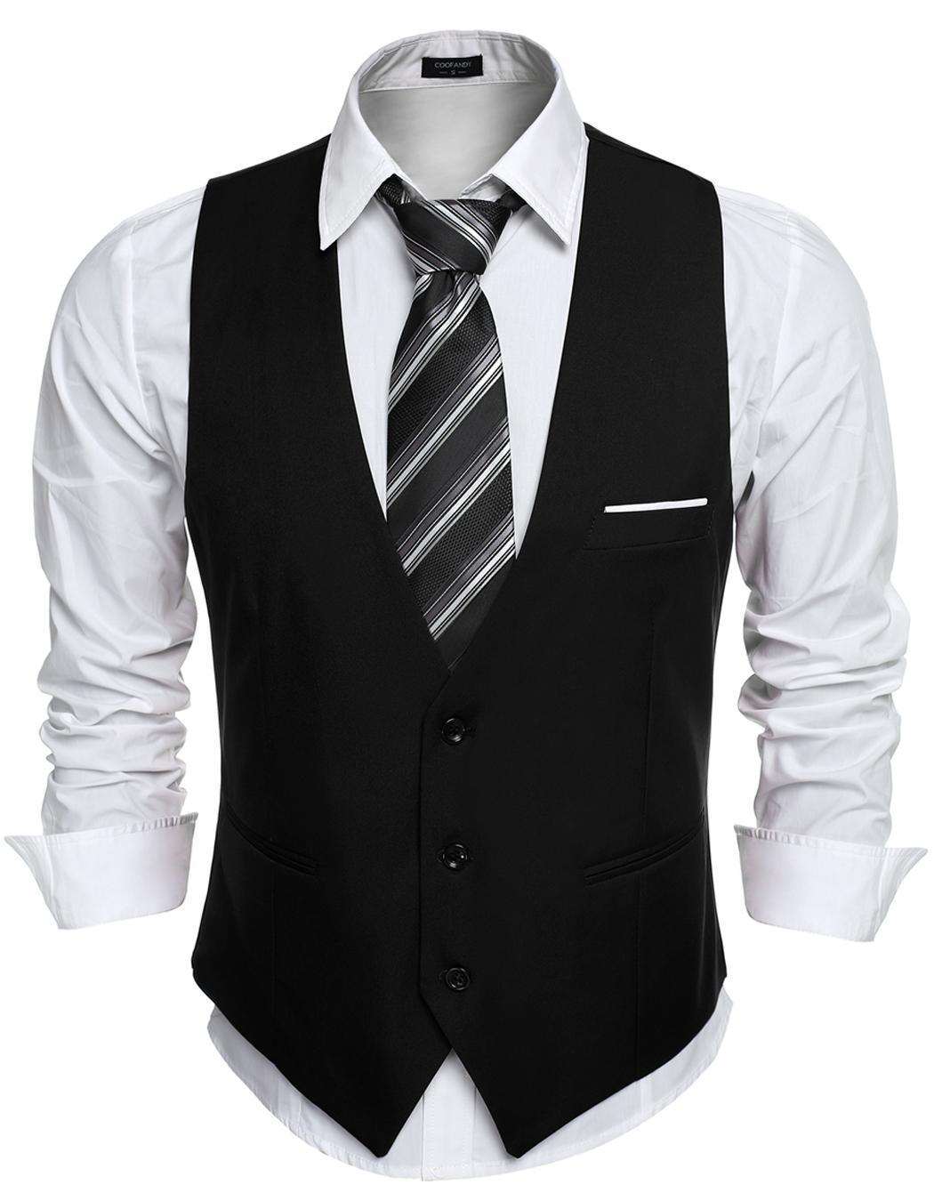 Mens Business Slim Fit Skinny Vest Waistcoat ( Black ...