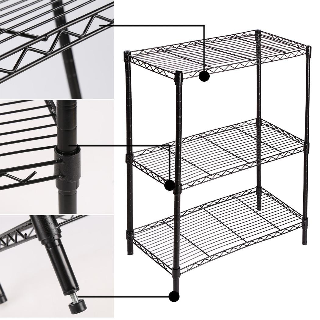Metal Wire Shelving : Tier steel wire shelving rack storage black adjustable