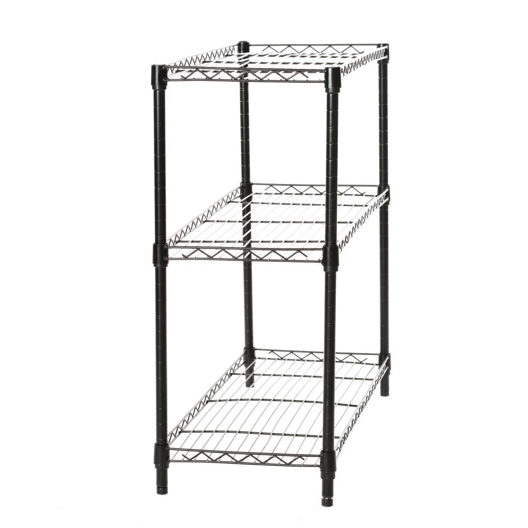 Black Storage Rack 3-Tier Organizer Kitchen Shelving Steel