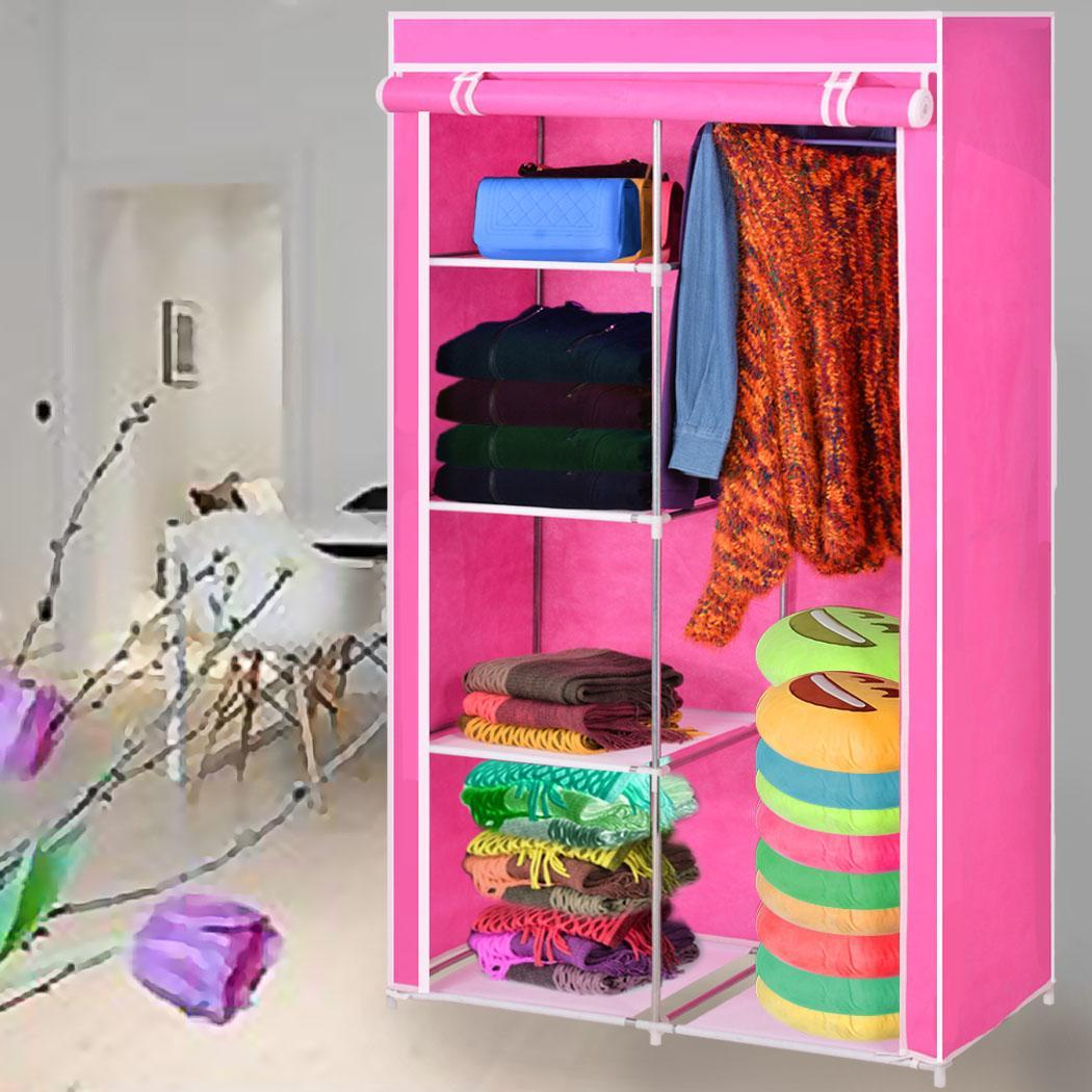 Home diy portable closet storage organizer wardrobe for Diy clothes closet