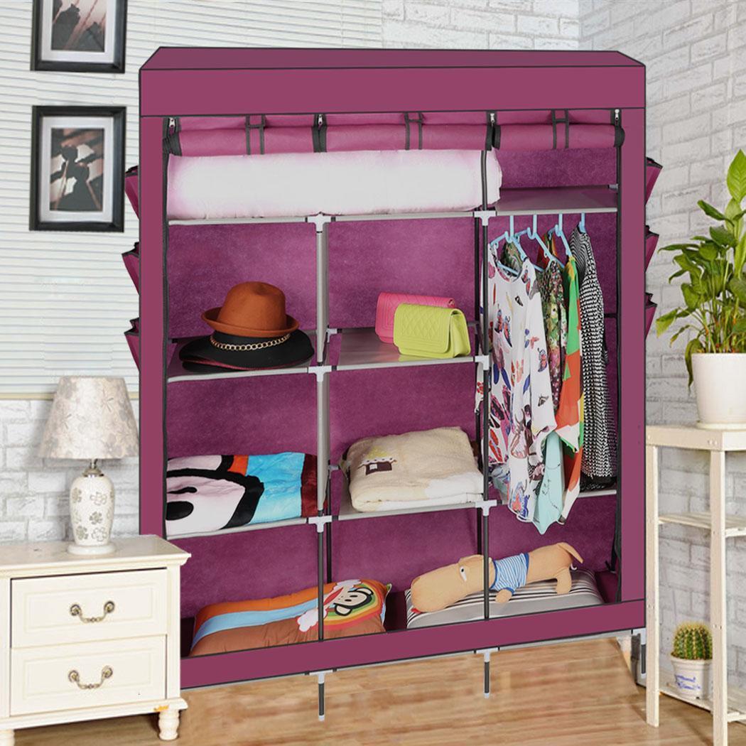 diy garderobe kleiderschrank kleiderstange textilkleiderschrank faltschrank top ebay. Black Bedroom Furniture Sets. Home Design Ideas