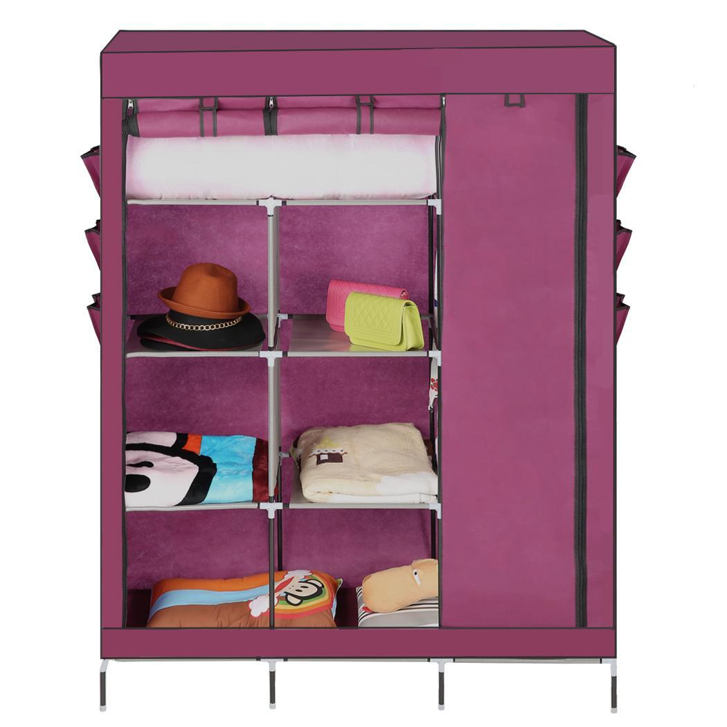 diy garderobe kleiderschrank kleiderstange textilkleiderschrank faltschrank top ebay. Black Bedroom Furniture Sets. Home Design Ideas