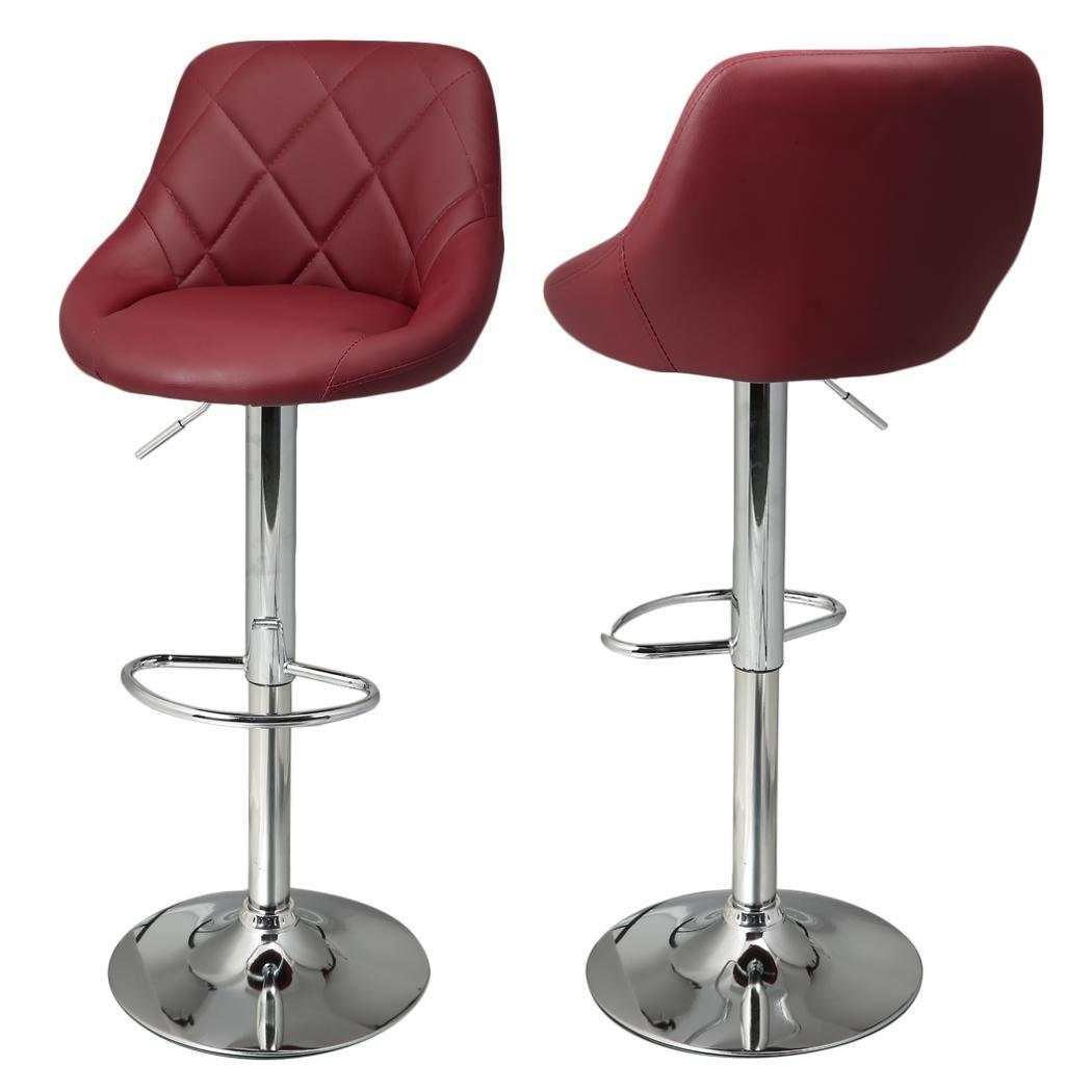 Set Of 2 Bar Stool Pu Leather Chair Adjustable Counter