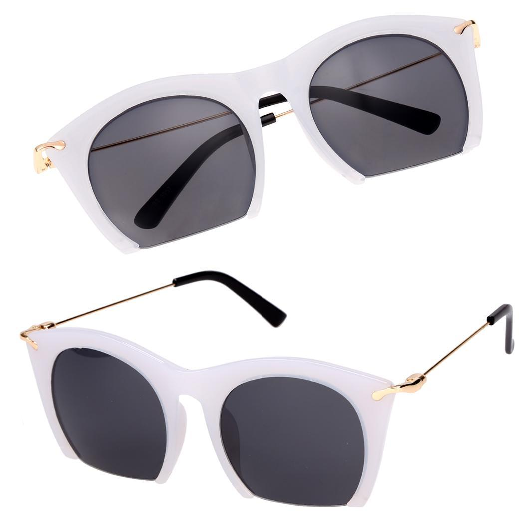 cyber korean retro sunglasses large half frame sun