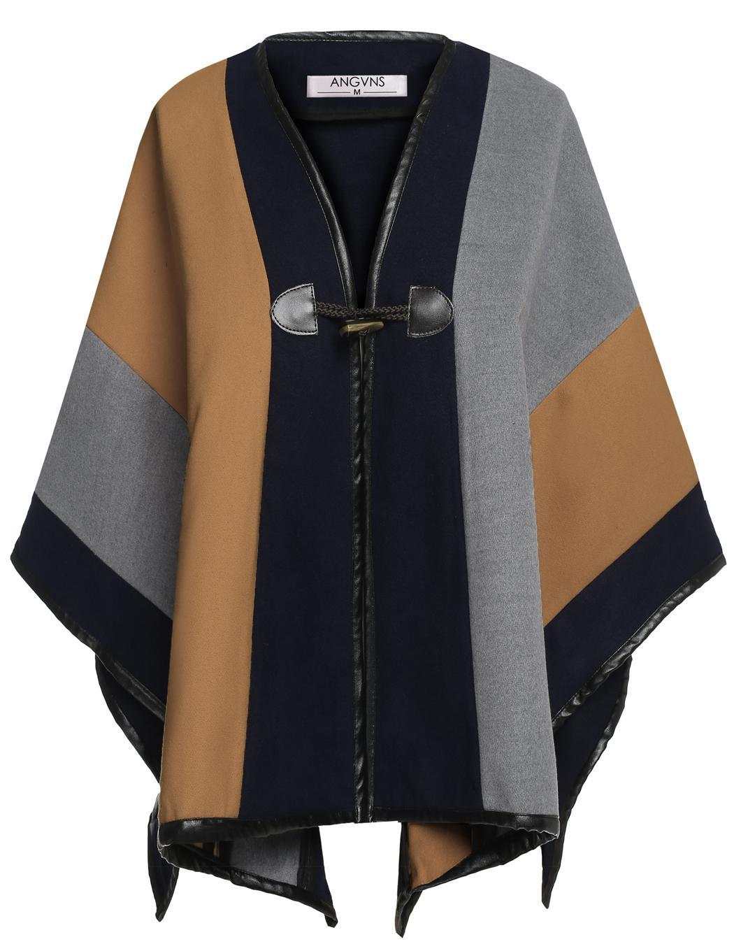 Angvns Women Patchwork Wrap Shawl Cape Casual Poncho Cloak ...