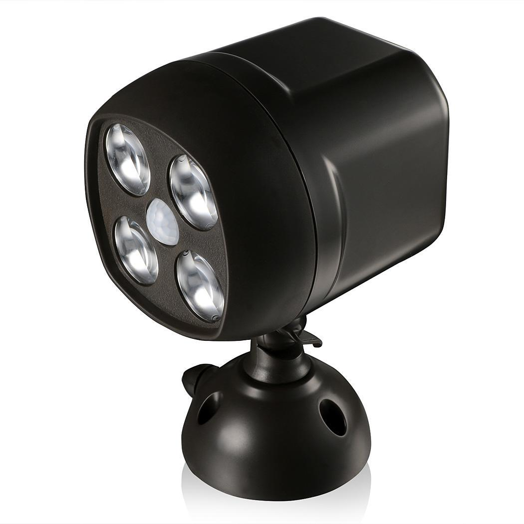 battery powered outdoor led security spotlight w motion sensor and light sensor ebay. Black Bedroom Furniture Sets. Home Design Ideas