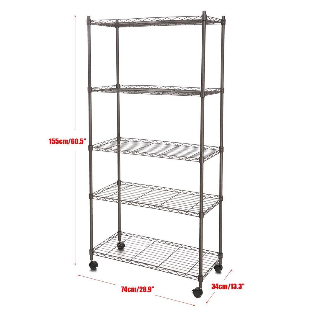 5 tier iron steel wire shelving 30 by 14 by 61inch storage. Black Bedroom Furniture Sets. Home Design Ideas