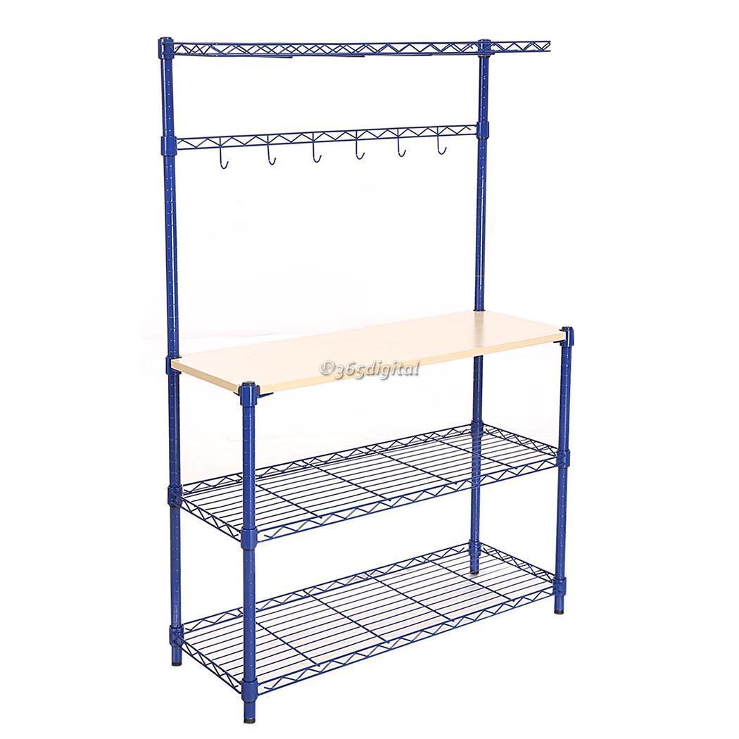 Modern kitchen 4 tier rack wire shelving shelf wood board - Modern kitchen shelving ...