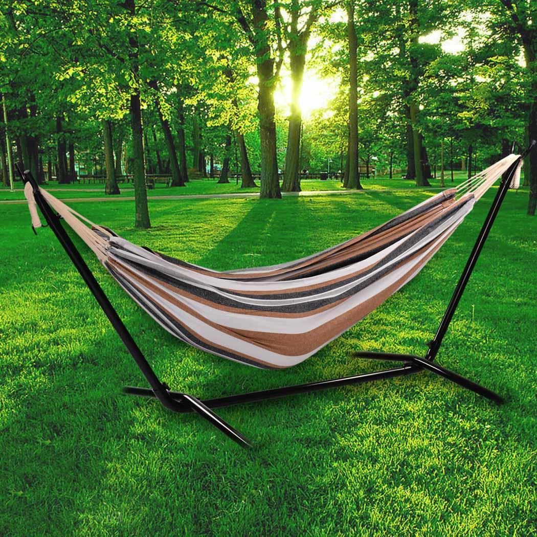 Ancheer folding double 2 person leisure hammock swing bed for Swinging bed frame