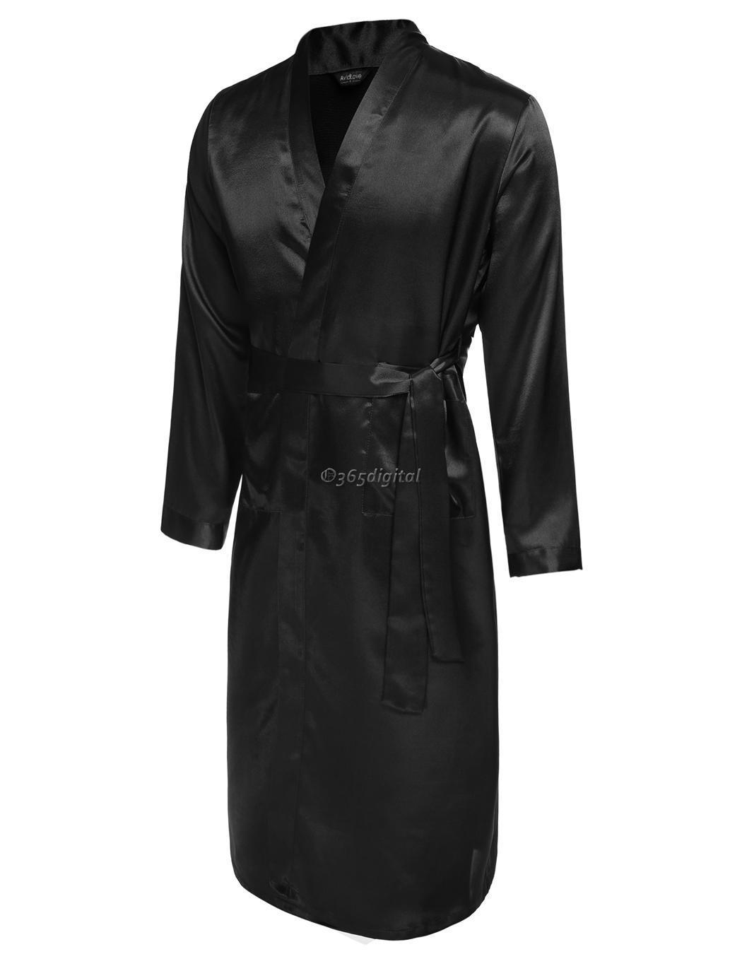 kimono bademantel herren avidlove bademantel schlafanz ge leicht satin homewear ebay. Black Bedroom Furniture Sets. Home Design Ideas