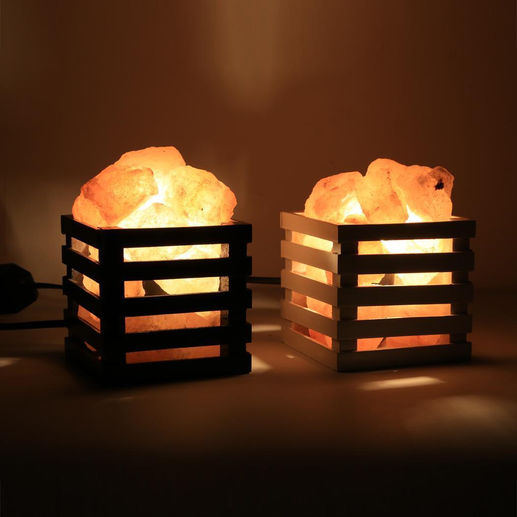 Salt Lamp Size For Bedroom : Modern Black/White Wood Basket Design Himalayan Rock Salt Lamp + 2pcs 10W Bulb eBay