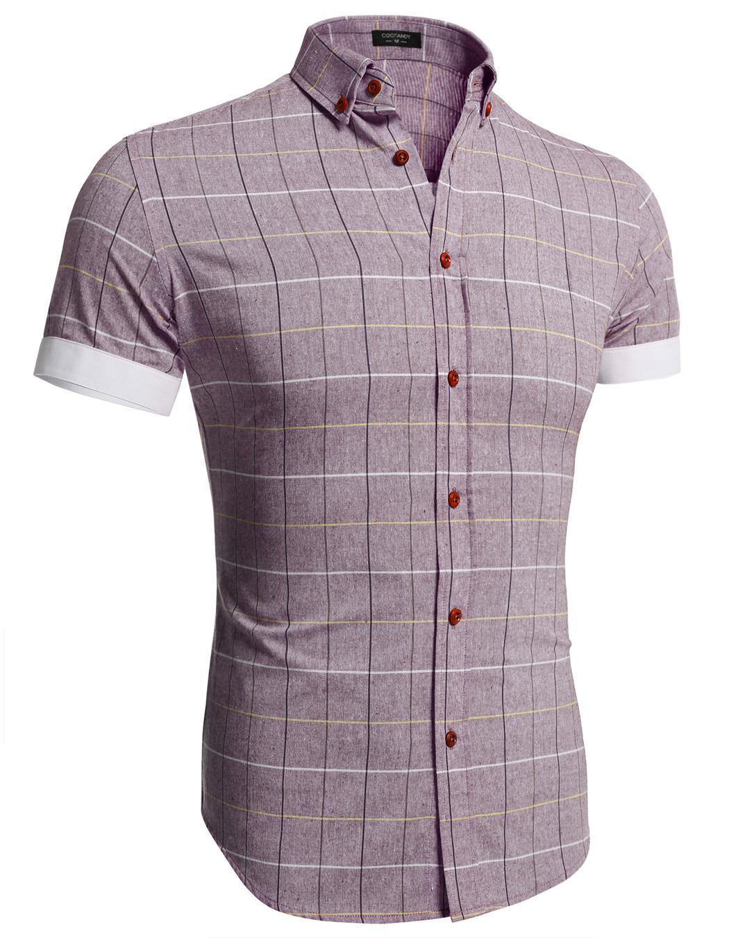 Men coofandy dress shirts shirts tops casual short sleeve for Mens casual plaid shirts