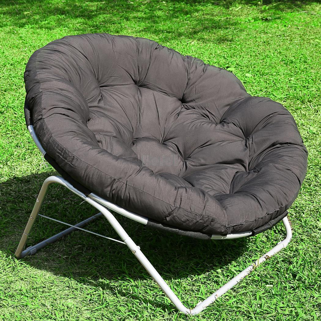 New Yard Moon Chair Round Cushion Padded Papasan Chair Outdoor BF00