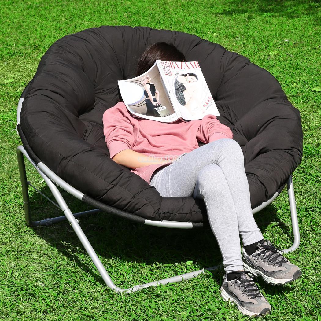 Folding Camping Chair Outdoor Moon Fishing Garden Leisure Padded Papasan Chai