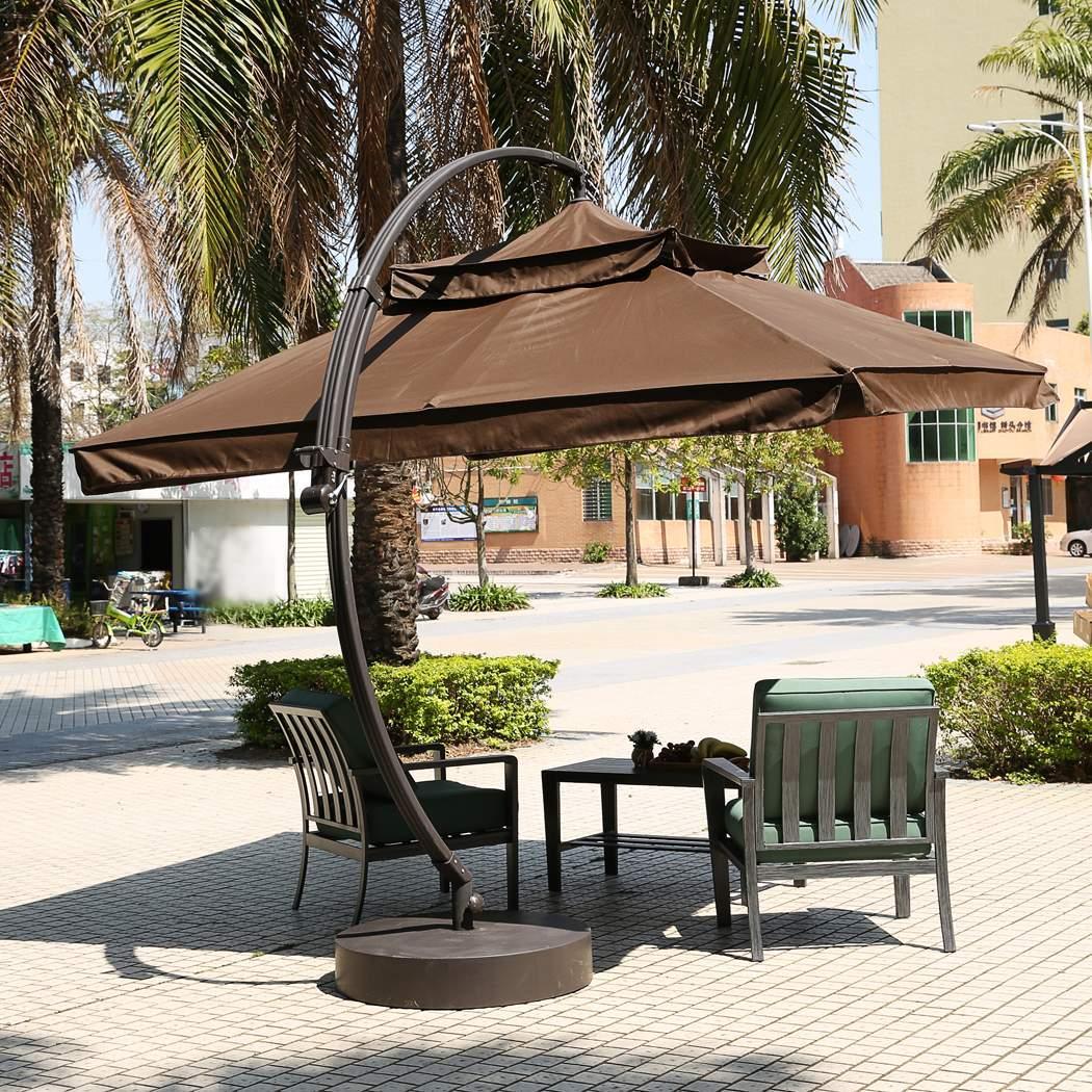 sonnenschirm 3 m kurbelschirm gartenschirm balkonschirm knickbar alu 300cm braun. Black Bedroom Furniture Sets. Home Design Ideas