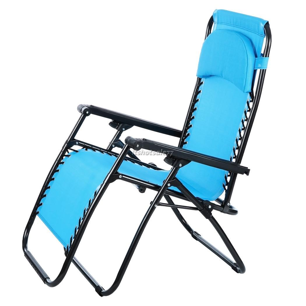 Reclining outdoor camping folding lawn patio beach chair 4 for Reclining lawn chair